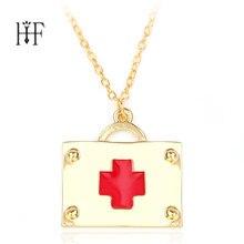 32f033d711b3 2018 collares largos de la manera Primeros Auxilios COLLAR COLGANTE oro  Color esmalte rojo Cruz joyería médica para enfermera mé.