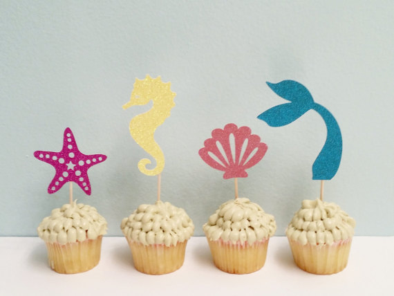 mixed mermaid theme birthday cupcake toppers bridal shower wedding bachelorette party treat food picks decoration