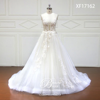 Wedding Dresses V Neck Court Train Lace Applique Crystal Beading Bride Dress Gowns Vestidos De Novia XF17162