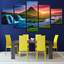 Beautiful Iceland Waterfall Paintings Green Mountain River Landscape Posters Home Decor