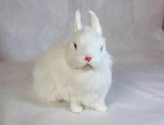 Моделирование милый белый корточках кролик 20x12 см модель полиэтилена и меха кролика модель украшения дома реквизит, модель подарок d267