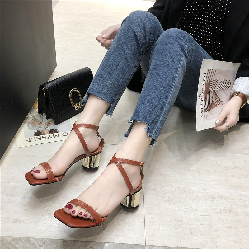 HKCP Mid heeled sandals summer thick with black word belt sexy women 39 s shoes 2019 new buckle shiny leather C341 in Middle Heels from Shoes