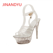 Steel Pipe Dance Crystal Shoes Chunky Sandals Platform Transparent Super High Heel 14CM 2019 New Female Shoe