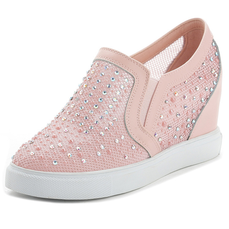 Genuine Leather Women Shoes Platform Wedge Casual Shoes Rhinestone Mesh Female Loafers Trainers Flats Zapatillas Mujer XK051815 eyeholes 2016 paillette shoes female genuine leather platform casual shoes sequins glittle eyelashes eyes white shoes