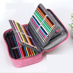 Large Capacity 72 Holders 4 Layer Kawaii Canvas Colored Pencil Bags Portable Watercolor Wrap Pencil Case Supplies Art Students