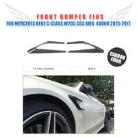 2 pçs/set Fibra de Carbono Front Side Fender Vents Decoração Colheres para Mercedes Benz AMG Classe C-W205 C63 4 -porta 2015-2017