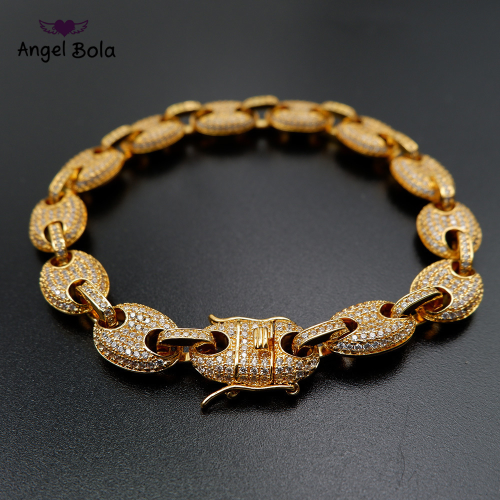 9mm Men s Chunky Iced Out Zircon Miami Cuban Link Hoof Bracelet Bling Hip  Hop Jewelry Gold a2fb3853bdef