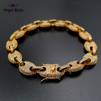 9mm Men's Chunky Iced Out Zircon Miami Cuban Link Hoof Bracelet Bling Hip Hop Jewelry Gold Silver AAA CZ Cuban Chain Bracelets