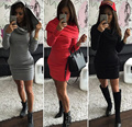 BeautyStay 2017 Women Kitted Bodycon Dress Spring Warm Hoodies Fashion Women Long Sleeve Hooded Dress Plus Size Sexy Dresses