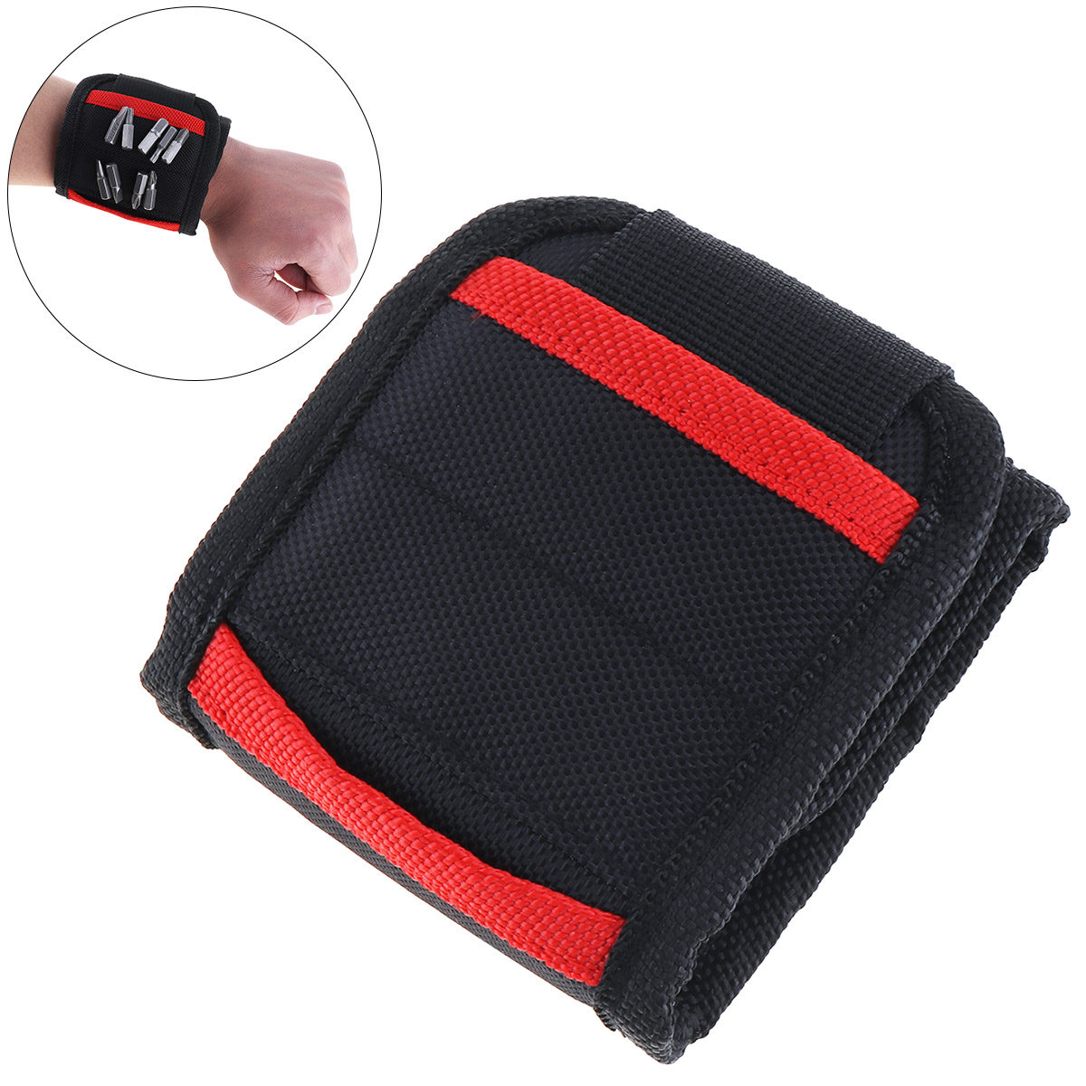 Portable Strong Magnetic Wristband Pocket Wristband Tool Bag Electrician Wrist Repair Tool Belt Screws Nails Drill Bits Holder