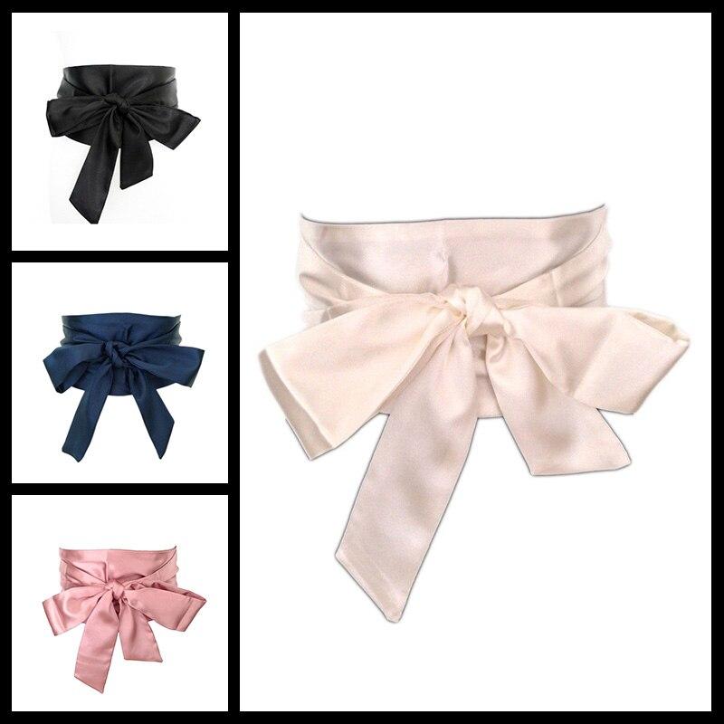 New Woman   Belt   Black 13cm Wide Satin Sash Wrap Tie   Belts   for Women Lady Cummerbund Fashion Wedding girdle 4 colors bg-009