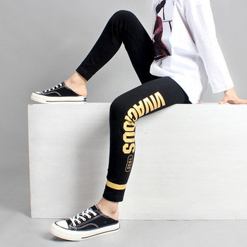 Girls Leggings 10 12 years Teenage Girls Cotton Pant Fashion Golden Print Black Kids Sport Trousers Spring Fall Students Bottoms