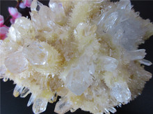 Unique Rare Natural Yellow Crystal Cluster Skeletal Quartz Point Wand Mineral Healing Crystal Druse Vug Specimen Natural Stone