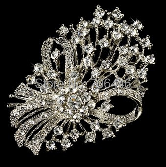 2.4 Rhodium Silver Plated Clear Rhinestone Diamante Knot Brooch