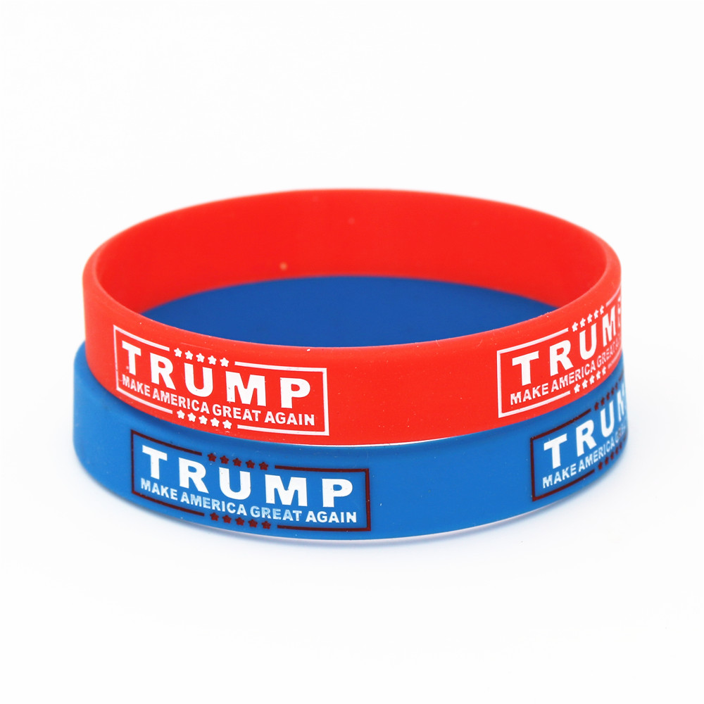 50pcs Make America Great Again Silicone Wristband Red Blue