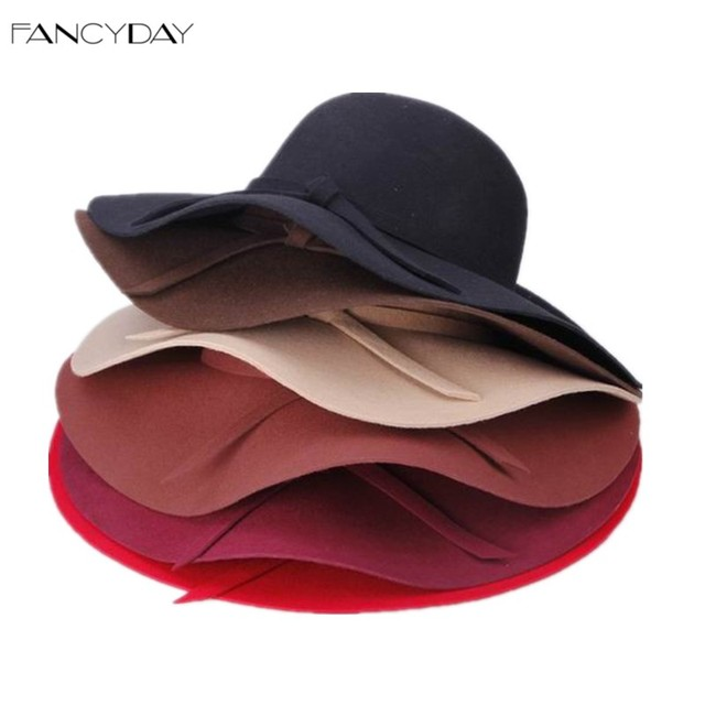 Vintage Retro 2016 Fedoras Hats for Women Wool Felt Crushable Sun Beach Wide Brim Floppy Chapeu Feminino Caps Free Shipping