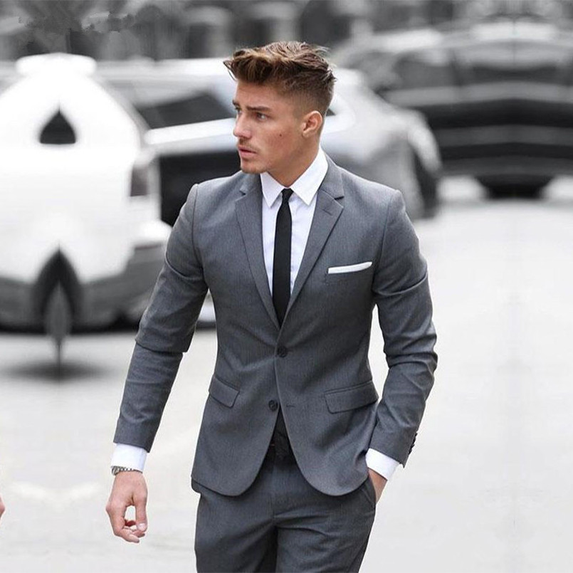 Custom Made 2018 Two Buttom Mens Suits Classic Gray Cotton Blended Formal Business Men\'s Wedding Suits Slim Fit Groomsmen Tuxedo