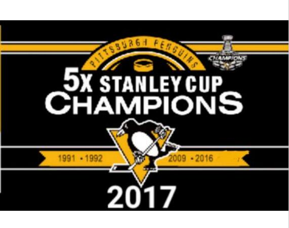 3X5FT NHL 2017 5X Pittsburgh Penguin Stanley Cup champion Flag with ...