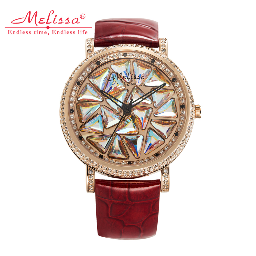 Rotating Crystal Melissa Women's Watch Japan Quartz Hours Fashion Bracelet Luxury Rhinestones Leather Clock Girl Birthday Gift цена