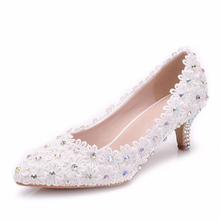 Women Pointed Toe Rhinestone Satin White Med High Heel Wedding Dress Shoes Bridal Evening Pumps Shoes XY-A0294