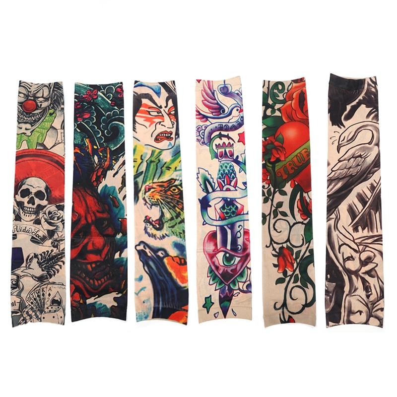 6 шт./компл. Забавный узор Татуировки рукава анти-Защита от солнца Временные татуировки рукава Стикеры Для мужчин татуировки Интимные аксессуары