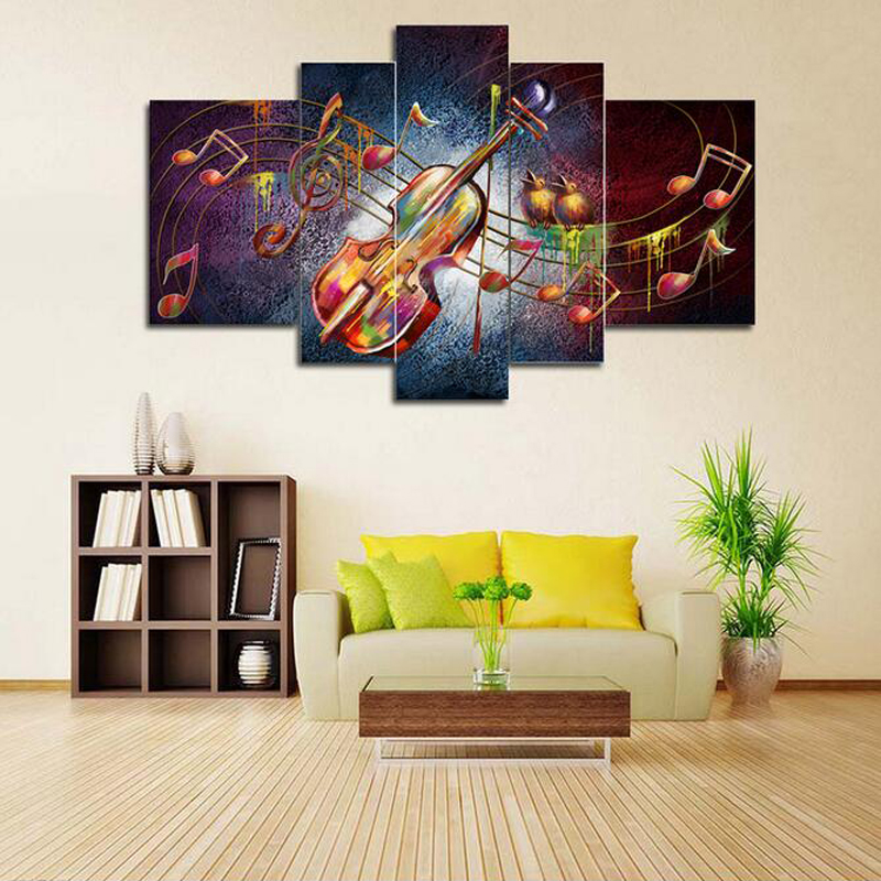 5pcs lot abstract oil painting on canvas hand painted The piano decorative wall pictures for living room ready to hang in Painting Calligraphy from Home Garden