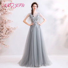 AXJFU grey flower lace evening dress princess luxury illusion beach vintage turkey stage 5621