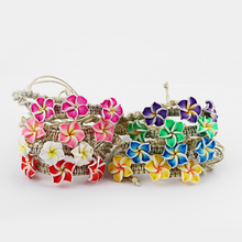 1PCS A Plumeria Flower Fimo Clay Friendship Handmade Waxed Cord Bracelets Surf 8 Colors You Choose
