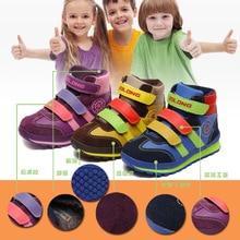 Мода Зимой Тепло Дети Обувь Повседневная Кроссовки детская Спортивная Обувь с Плюшем для Мальчиков и Девочек