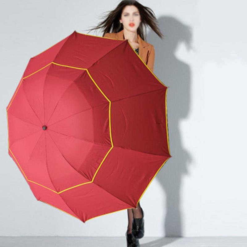 130 cm grand Top qualité Parapluie hommes pluie femme coupe-vent grand paraguay mâle femmes soleil 3 Floding grand Parapluie extérieur Parapluie