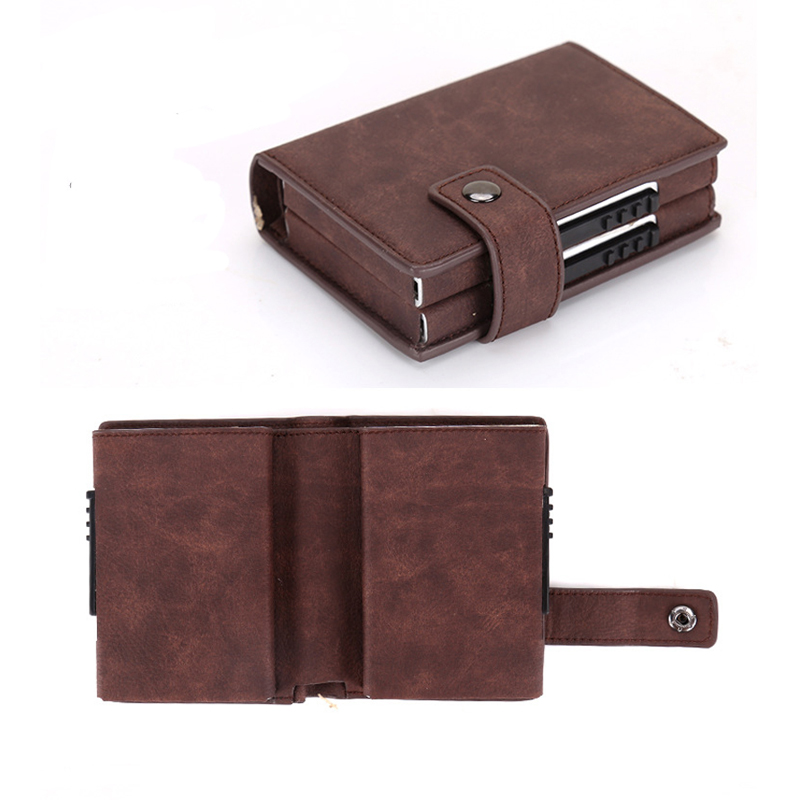 Double Box Rfid Credit Card Holder Case Aluminum Business id Cards Wallet Fashion Card Holder Metal Leather visit Pocket in Card ID Holders from Luggage Bags