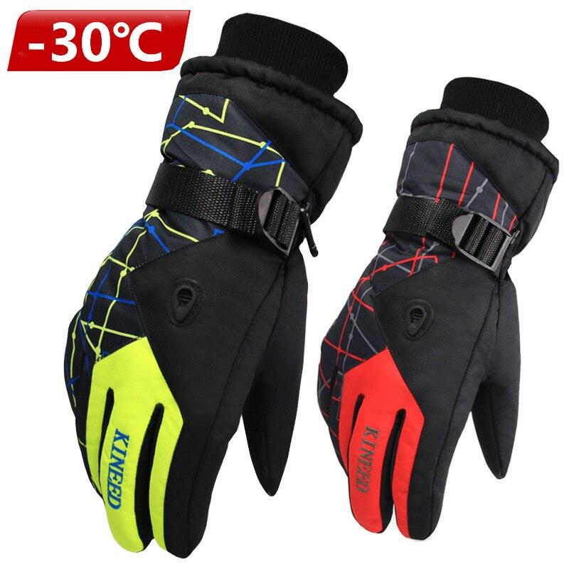 Antiskid Wear Resistant Riding Ski Gloves  Mountain Skiing Snowmobile Waterproof Snow Motorcycle Gloves Windproof Guanti Moto