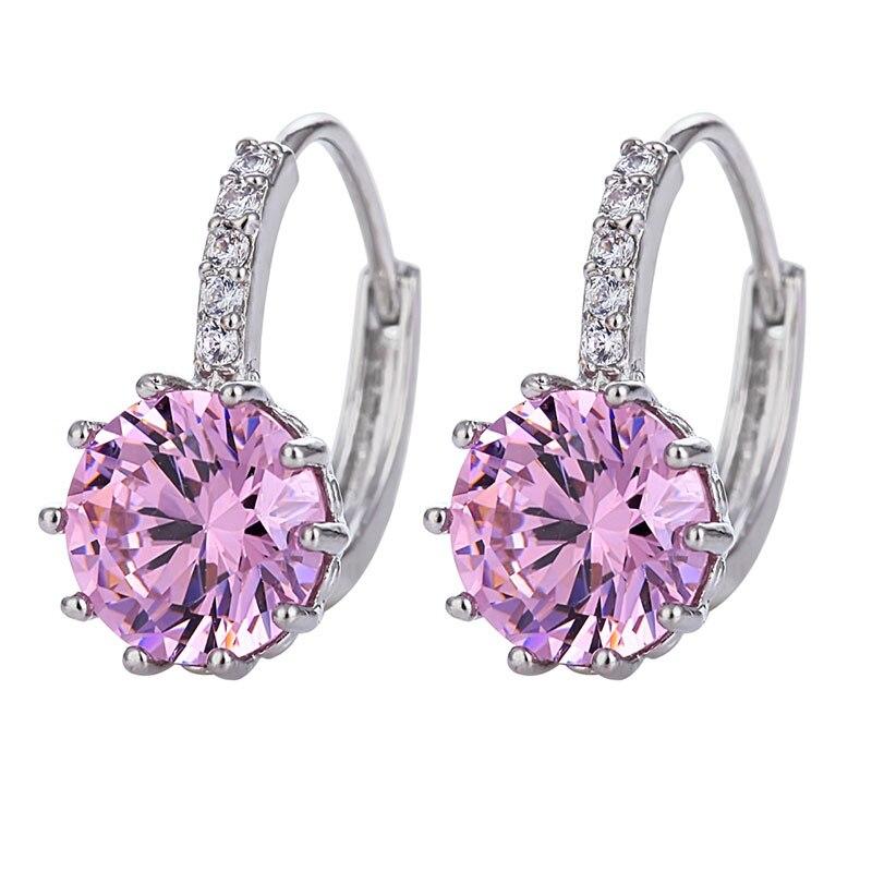BEAUTIFUL PLAN Luxury Ear Stud Earrings For Women 9 Colors Round With Cubic Zircon Charm Flower Stud Earrings Women Jewelry Gift