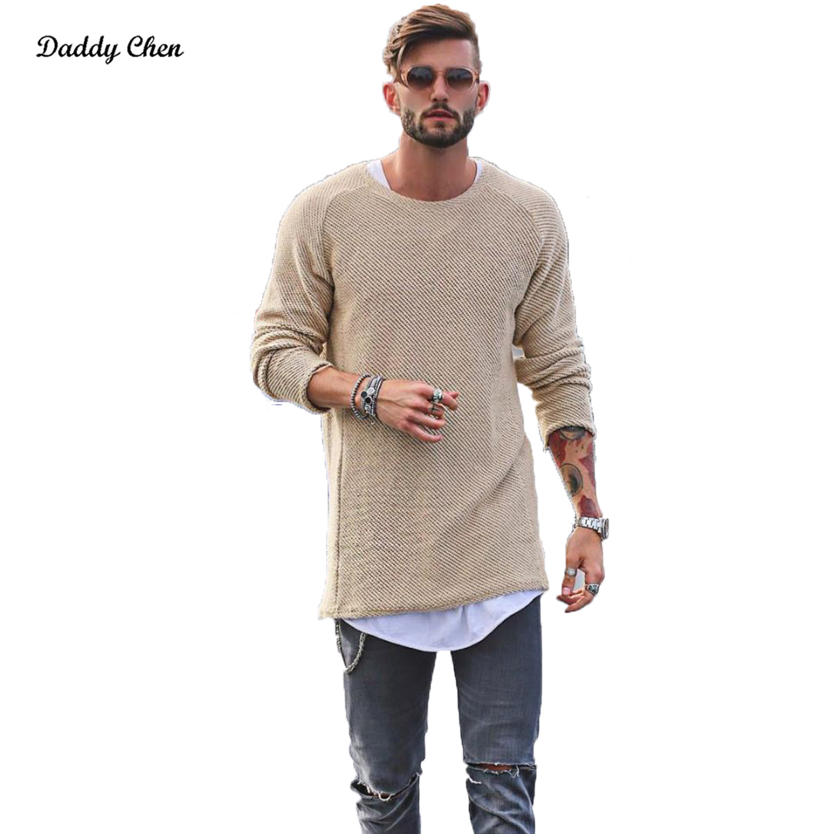 48e2c9882 Men Sweater Autumn Winter Knitted Solid Simply Style Pullover Casual ...