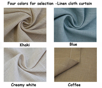 Eco friendly high quality readymade shade natural Linen cloth curtain screen yarns tulles can customize sizes