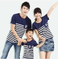 329# Striped Navy Blue Cotton T Shirts Family Matching Clothes 2016 New Fashion Summer Mother Father Baby Family Look Outfits