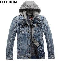 LEFT ROM Fashion Male High Grade Winter Warmth Pure Color Denim Jacket Men High Quality Slim