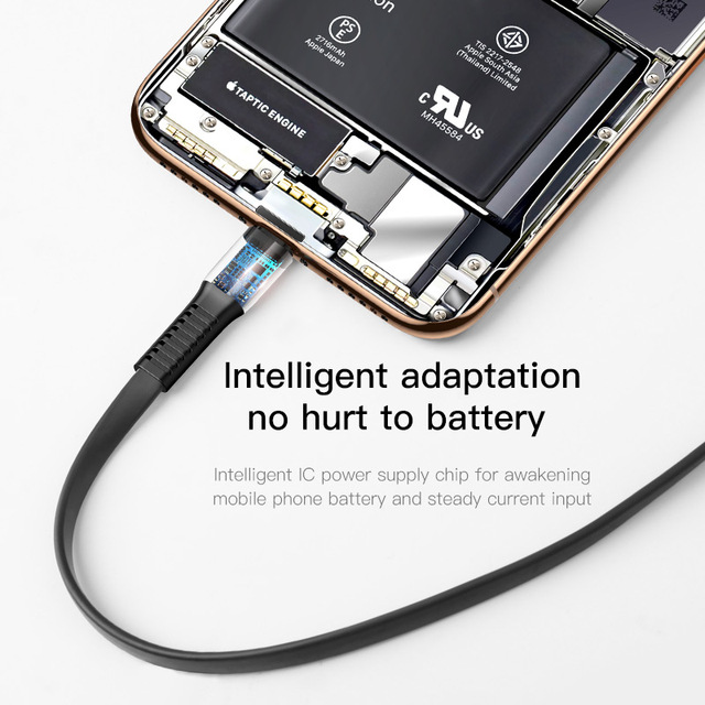 Baseus Flat USB Cable For iPhone XS Max XR X 8 7 6 6s Plus 5 5s se iPad Mini Fast Data Charging Charger Cord Mobile Phone Cable