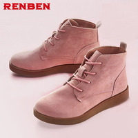 Autumn Spring Female Ankle Boots With Cut Outs Square Heels Round Toe Platform Pu Soft Leather