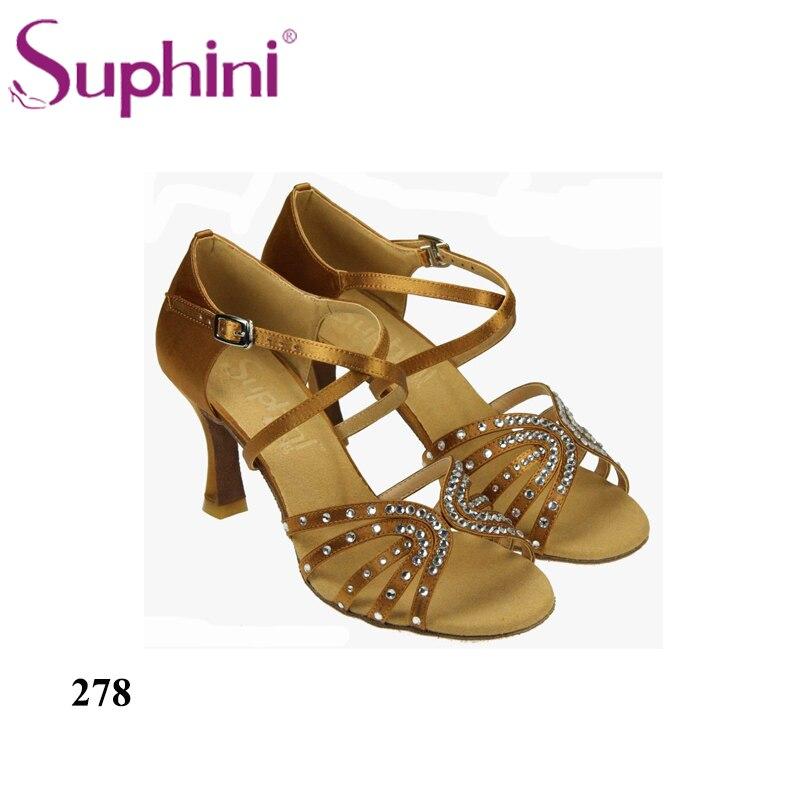 Free Shipping Suphini Samba Dance Shoes Heels Latin Dance Shoes Stage Dance Wear Crystal Dance Shoes