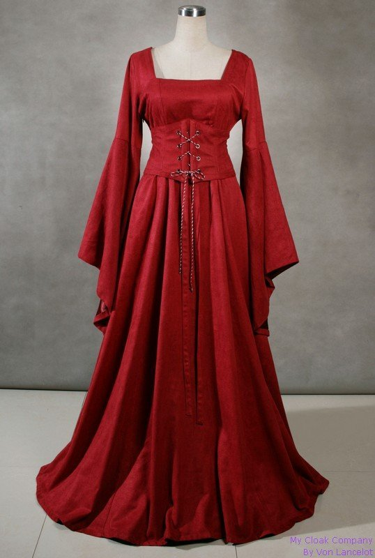 Long Sleeves Vintage Renaissance Aristocracy Victorian/Medieval Marie Antoinette Corset Burgundy Gothic Cosplay Dress BALL GOWN