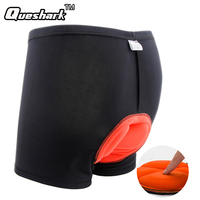 Queshark Men 3D Sponge Padded Cycling Shorts Bicycle Underwear MTB Road Bike Short Pants Riding Sports Tights Briefs Boxers