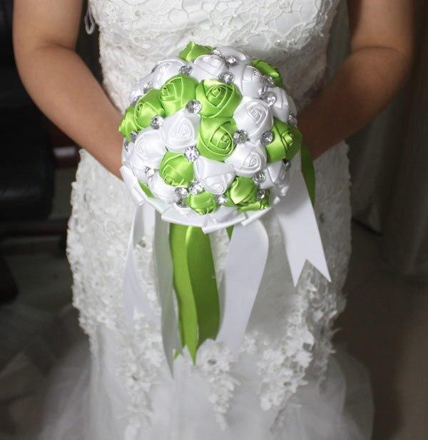 Романтический ручной искусственный букет невесты бирюзовый зеленый белая роза брошь свадебный букет ленты