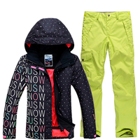 2018 New Sale Rushed Cotton Women Ski Suit Snowboard Skiing Jackets Warm Pants Breathable Windproof Womens