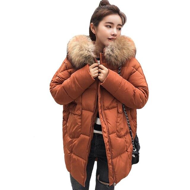 Best Offers Oversize 2018 Winter Jacket Women With Fur Collar Hooded Female Coat Winter Womens Outwear Parka With Two Pockets Women