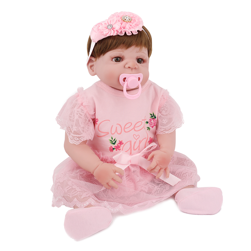 Full Silicone Reborn Baby Dolls New Lifelike 22 inches Handmade 55cm Realistic Girl Toy Children GiftFull Silicone Reborn Baby Dolls New Lifelike 22 inches Handmade 55cm Realistic Girl Toy Children Gift