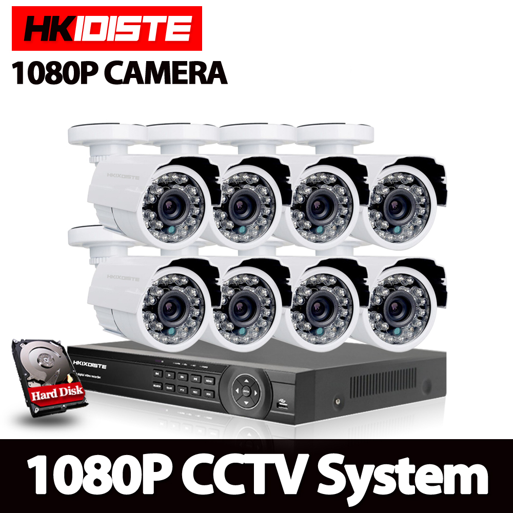 HKIXDISTE 1080P HD 3000TVL Outdoor Security Camera System 1080P HDMI CCTV Video Surveillance 8CH DVR Kit 1TB HDD AHD Camera Set