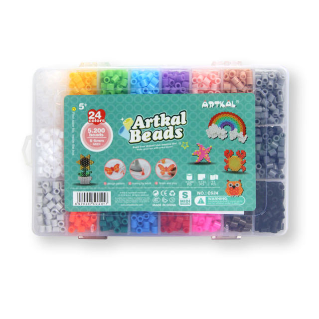 Artkal 5,200 Beads 24 Colors Box Set Diy Creative Toys Perler Pixel Beads Christmas Gift