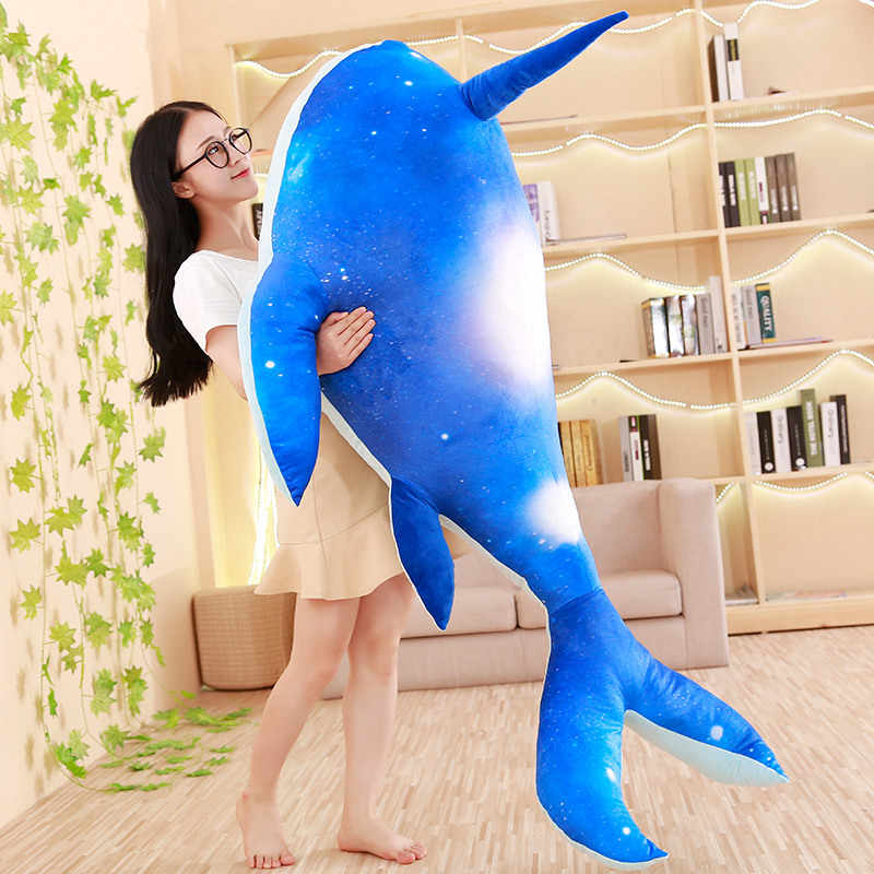 1pcs huge plush narwhal toys cute stuffed fish doll cloud dreamer plush pillow kids toys birthday gift for children /girlfriend