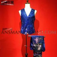 New Color blue glitter gradient effect suit Men vest Suits hairdresser nightclub bar Male singer DJ Fashion stage costumes S 5XL